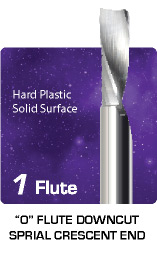 1 Flute O Flute Downcut Spiral for Hard Plastic and Solid Surface