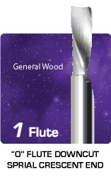 1 Flute O Flute Downcut Spiral for General Wood