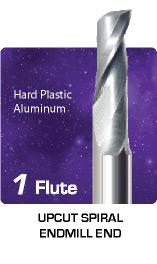 1 Flute Upcut Spiral - Hard Plastics and Aluminum