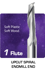 1 Flute Upcut Spiral for Soft Plastic and Soft Wood