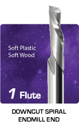 1 Flute Downcut Spiral for Soft Plastic and Soft Wood