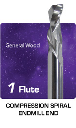 1 Flute Compression Spiral for General Wood
