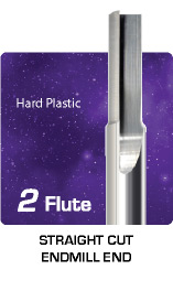 2 Flute Straight Cut For Hard Plastic