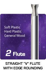 2 Flute Straight V Flute Edge Rounding