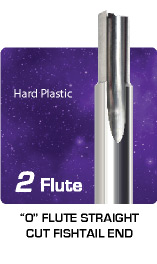 2 Flute O Flute Straight Cut Fishtail End - for Hard Plastic