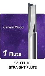 1 Flute V Flute Straight Flute for General Wood
