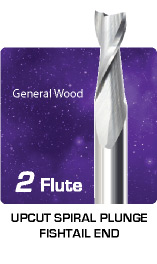 2 Flute Upcut Plunge Fishtail Router for General Wood