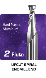 2 Flute Upcut Spiral for Hard Plastics and Aluminum