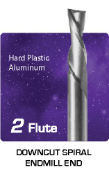 2 Flute Downcut Spiral for Hard Plastics and Aluminum