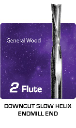 2 Flute Downcut Slow Helix for General Wood
