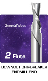 2 Flute Downcut Chipbreaker for General Wood