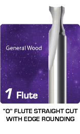 1 Flute O Flute Straight Cut with Edge Rounding