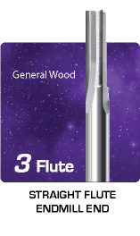 3 Flute Straight Flute for General Wood