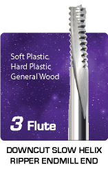 3 Flute Downcut Slow Helix Ripper - Soft Plastic