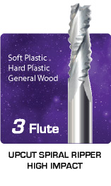 3 Flute Upcut Spiral Ripper High Impact - General Wood