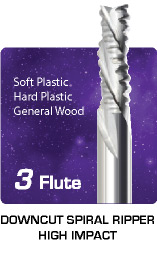 3 Flute Downcut Ripper High Impact - General Wood