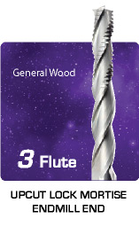 3 Flute Upcut Lock Mortise for General Wood