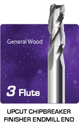 3 Flute Upcut Chipbreaker Finisher for General Wood