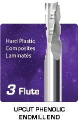 3 Flute Upcut Phenolic Hard Plastics, Composites, and Laminates