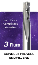 3 Flute Downcut Phenolic - For Hard Plastics, Composites, and Laminates