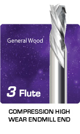 3 Flute Compression - High Wear - For General Wood